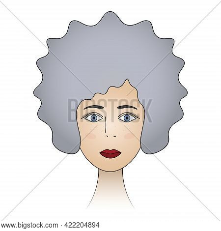 Woman's Face. Ash Blonde With Blue Eyes. Lady's Head Full Face. Colored Vector Illustration. Hairsty