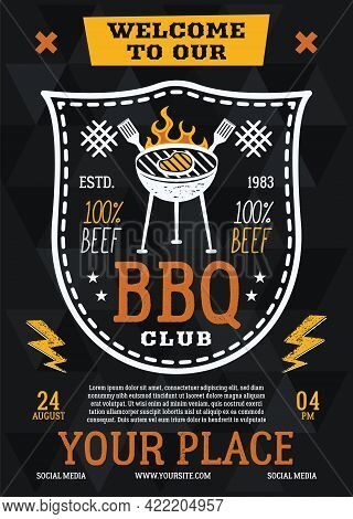 Barbecue Party Flyer. Bbq Club Poster Template Design. Summer Barbeque Editable Card. Stock Vector I