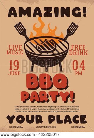 Amazing Barbecue Party Flyer. Bbq Poster Template Design. Summer Barbeque Editable Card. Stock Vecto