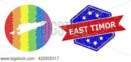 Dot Spectrum Map Of East Timor Collage Formed With Circle And Hole, And Textured Seal. Lgbt Spectrum