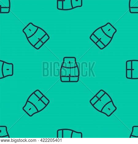 Blue Line Women Waist Icon Isolated Seamless Pattern On Green Background. Vector