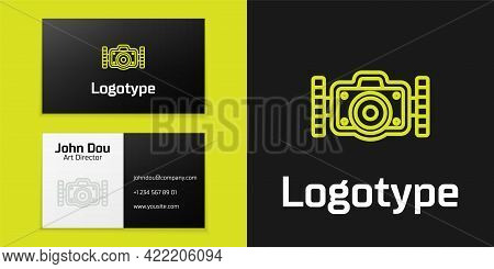 Logotype Line Photo Camera For Diver Icon Isolated On Black Background. Foto Camera Icon. Diving Und