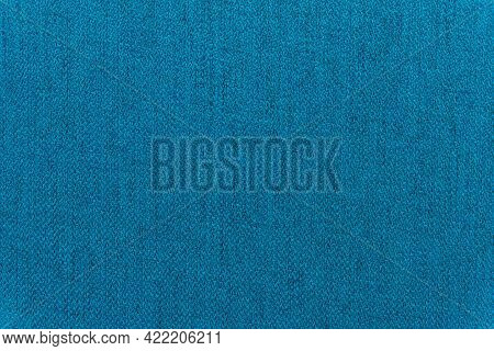 Blue Linen Canvas. Background Of Azure Cloth Thread Texture. Fabric With Natural Texture. Large Seam