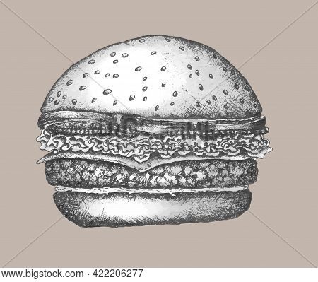 Original Monochrome Illustration Of Burger With Cutlet, Cheese, Salad, Onion, Tomatoes In Vintage St