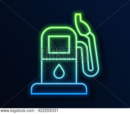 Glowing Neon Line Petrol Or Gas Station Icon Isolated On Blue Background. Car Fuel Symbol. Gasoline