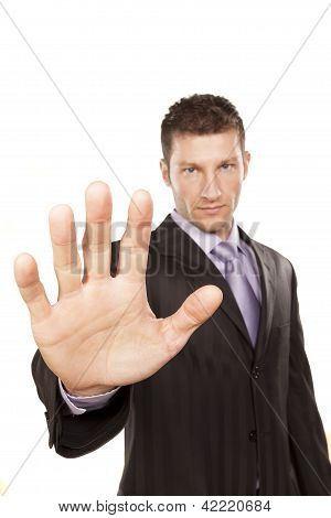 Business Man With Stop Hand Up