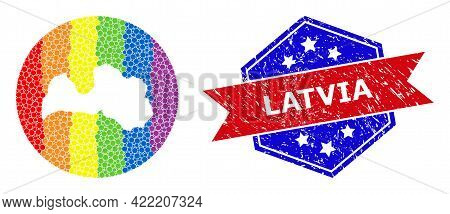 Pixelated Spectral Map Of Latvia Mosaic Designed With Circle And Subtracted Space, And Grunge Stamp.