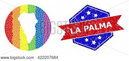 Pixelated Bright Spectral Map Of La Palma Island Collage Created With Circle And Subtracted Shape, A