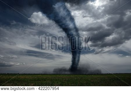 Dangerous Whirlwind At Agricultural Field. Weather Phenomenon