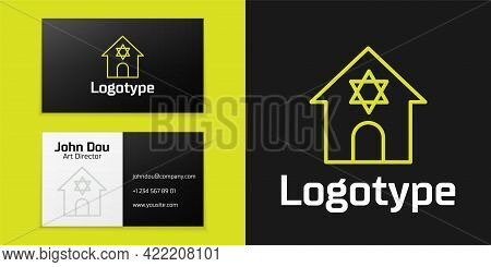 Logotype Line Jewish Synagogue Building Or Jewish Temple Icon Isolated On Black Background. Hebrew O