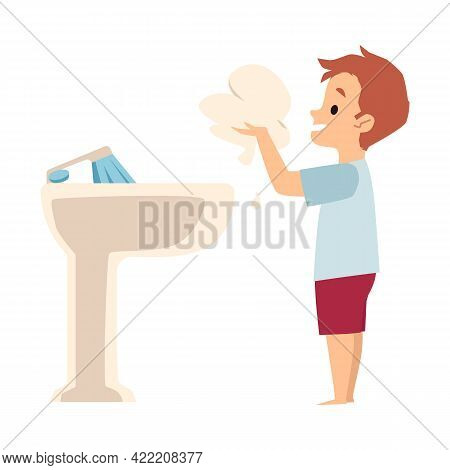 Child Boy Washing Hands Or Washes Up With Water And Soap At Sink In Bathroom.