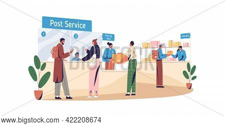 People Sending And Receiving Parcels In Post Office. Postal Service With Pick-up Point And Courier C