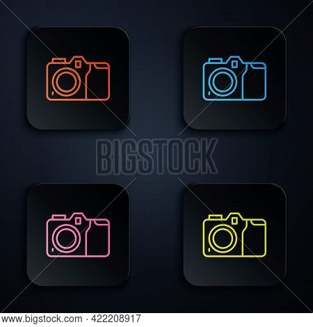 Color Neon Line Photo Camera Icon Isolated On Black Background. Foto Camera Icon. Set Icons In Squar