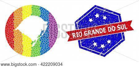 Pixel Rainbow Gradiented Map Of Rio Grande Do Sul State Mosaic Designed With Circle And Carved Shape