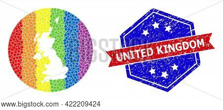Pixel Spectrum Map Of United Kingdom Mosaic Designed With Circle And Hole, And Distress Stamp. Lgbtq