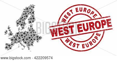 West Europe Grunged Seal Stamp, And Euro Union Map Collage Of Airliner Items. Collage Euro Union Map