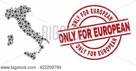 Only For European Rubber Seal, And Italy Map Mosaic Of Air Plane Items. Mosaic Italy Map Created Fro