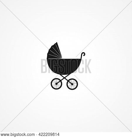 Baby Buggy, Carriage Simple Isolated Vector Icon. Baby Buggy, Carriage Simple Isolated Vector Icon.