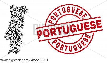 Portuguese Rubber Seal, And Portugal Map Mosaic Of Aviation Elements. Mosaic Portugal Map Designed O
