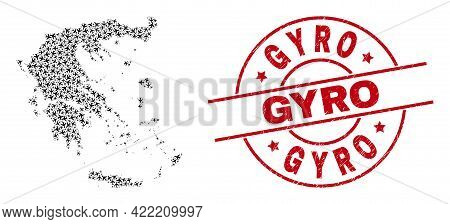 Gyro Scratched Badge, And Greece Map Collage Of Aeroplane Items. Collage Greece Map Designed With Ai