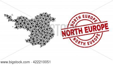 North Europe Grunge Seal, And Gerona Province Map Collage Of Aircraft Elements. Mosaic Gerona Provin