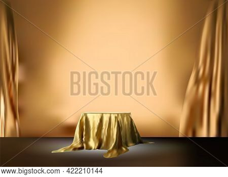 Gold Luxury Fabric Or Cloth Placed On Top Plinth Or Empty Podium Shelf On Golden Wall With Luxury Co