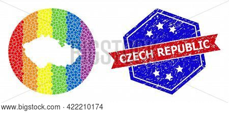 Dotted Bright Spectral Map Of Czech Republic Collage Created With Circle And Carved Shape, And Textu