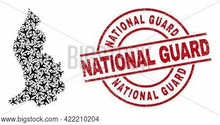 National Guard Rubber Seal Stamp, And Liechtenstein Map Mosaic Of Aeroplane Items. Mosaic Liechtenst