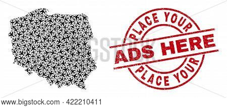 Place Your Ads Here Scratched Seal Stamp, And Poland Map Collage Of Aviation Items. Collage Poland M