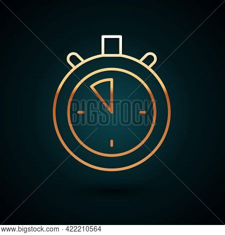 Gold Line Stopwatch Icon Isolated On Dark Blue Background. Time Timer Sign. Chronometer Sign. Vector