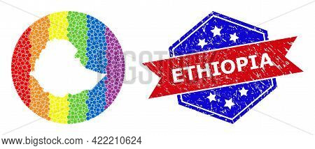 Dot Spectrum Map Of Ethiopia Mosaic Created With Circle And Carved Shape, And Scratched Seal. Lgbt S