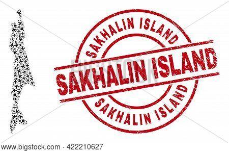 Sakhalin Island Grunge Seal Stamp, And Sakhalin Island Map Mosaic Of Aeroplane Items. Mosaic Sakhali