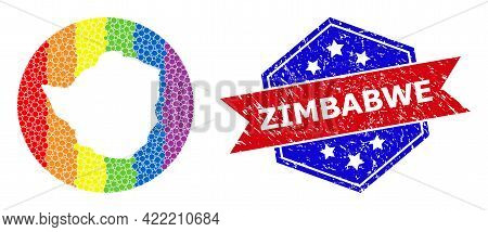 Dotted Bright Spectral Map Of Zimbabwe Mosaic Created With Circle And Cut Out Shape, And Distress Se