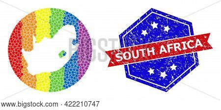 Pixel Rainbow Gradiented Map Of South African Republic Collage Composed With Circle And Subtracted S