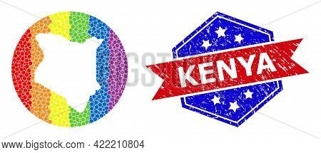 Pixelated Rainbow Gradiented Map Of Kenya Mosaic Designed With Circle And Subtracted Space, And Grun