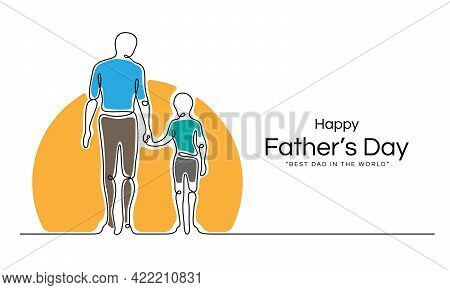 Happy Father's Day - Abstract Line Drawing Father Holding Son' S Hand Looking At The Sun Vector Desi