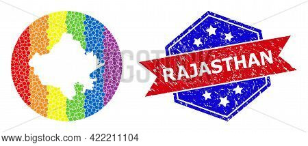 Pixelated Spectrum Map Of Rajasthan State Collage Formed With Circle And Cut Out Shape, And Scratche