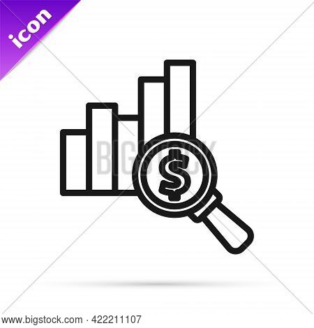 Black Line Pie Chart Infographic And Dollar Symbol Icon Isolated On White Background. Diagram Chart