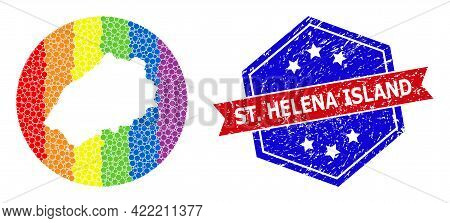 Dot Rainbow Gradiented Map Of Saint Helena Island Mosaic Formed With Circle And Subtracted Shape, An