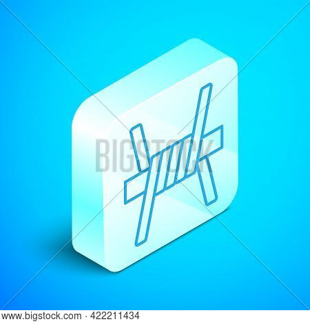 Isometric Line Barbed Wire Icon Isolated On Blue Background. Silver Square Button. Vector