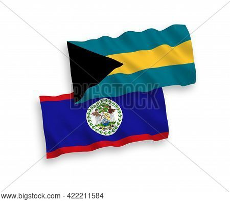 National Fabric Wave Flags Of Belize And Commonwealth Of The Bahamas Isolated On White Background. 1