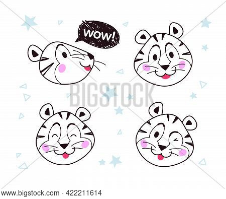 Vector Collection Of Happy Little Tiger Character Outline Portraits, Smile, With Speech Bubble And W