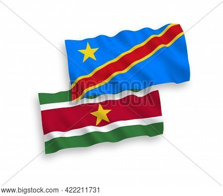 National Fabric Wave Flags Of Republic Of Suriname And Democratic Republic Of The Congo Isolated On