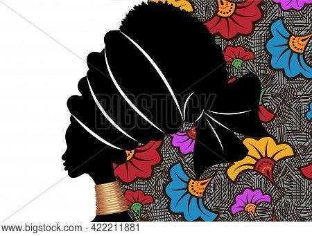 Banner Portrait African Woman In Traditional Turban. Tribal Motif Wedding Flowers Background, Kente