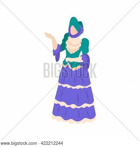 Victorian Era Fashion Icon With Woman Wearing Elegant Dress Isometric Vector Illustration