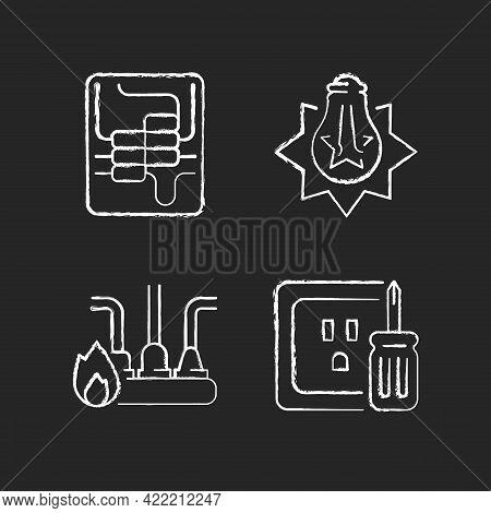 Electrician Service Chalk White Icons Set On Dark Background. Circuit Breaker Panel. Exploding Light