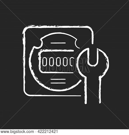 Electrical Meter Repair Chalk White Icon On Dark Background. Clock-like Device Installation. Energy