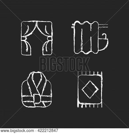 Home Textile Items Chalk White Icons Set On Dark Background. Window Blinds. Bathroom Curtain. Bath R
