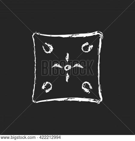 Cushion Chalk White Icon On Dark Background. Cotton Pillow Case. Linen Bedding. Bedroom Textile Prod
