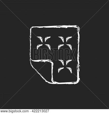 Duvet Chalk White Icon On Dark Background. Linen Bedding. Mattress, Dust Protector. Orthopedic Bedsp